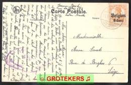 Duits Brugstempel LAKEN (Belgien) En Censuur Brüssel Op Zichtkaart Laeken Palais Chinois 1918 Met OC 13 - [OC1/25] General Gov.
