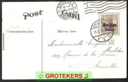 BELGIE 1916 OC 11 Met Duits Brugstempel Brüssel Op Zichtkaart Niagara Watervallen - [OC1/25] General Gov.