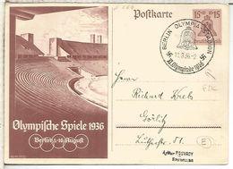 ALEMANIA 3 REICH ENTERO POSTAL JUEGOS OLIMPICOS BERLIN 1936 MAT OLYMPIA STADION - Sommer 1936: Berlin