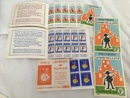 École Publique 1972, 1973 2 Carnets 10 Timbres 0,5f, 3 Autocollants à 1,2,5F + Carnet Jeunesse 75 - Erinnophilie