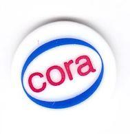Jeton De Caddie En Plastique - Cora - Supermarché - Revers Pièce 1€ - Trolley Token/Shopping Trolley Chip