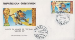 Enveloppe  FDC  1er  Jour   GABON   Coupe  Du   Monde  De  Football   1986 - Coupe Du Monde
