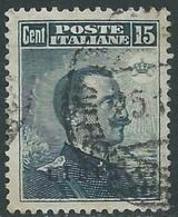 1912-15 LIBIA USATO EFFIGIE 15 CENT - CZ16-10 - Libia