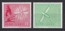 "HERM ISLAND..CHANNEL ISLANDS..QUEEN ELIZABETH II.(1952-NOW.)..."" 1962..""....ANTI-MALARIA CAMPAIGN...AET OF 2..MNH.. - Enfermedades"