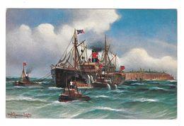 Nautical Painting Artist Signed Alfred Jensen 1911 Pumping Steamer After Kollision TSN Postcard - Paintings