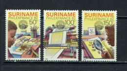 Suriname, 1982, Philexfrance Stamp Exhibition, MNH, Michel 987-989 - Surinam
