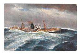 Nautical Painting Artist Signed Alfred Jensen 1911 Ladung Ubergegangen TSN Postcard - Paintings