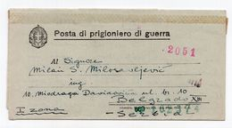 1942. WWII  ITALY,POW LETTER,SENT TO BELGRADE,SERBIA,MILITARY POST 3200,CENSORED,POW CAPTAIN PETAR MILOSAVLJEVIC - Correo Militar (PM)