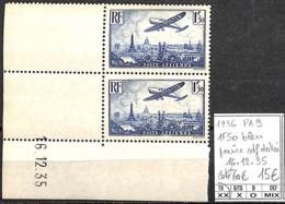 [847440]TB//**/Mnh-c:60e-France 1936 - PA9, 1f50 Bleu, Paire Cdf Datée, 16.12.35, Avions - 1927-1959 Neufs