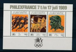 Suriname, 1989, Olympic Summer Games Los Angeles, Philexfrance, Overprint, MNH, Michel Block 50 - Surinam