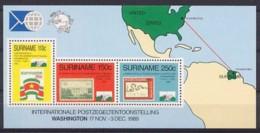 Suriname, 1989, Washington World Stamp Expo, UPU, MNH, Michel Block 51 - Surinam