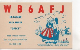 Cpa.Cartes QSL.WB6AFJ.California.1989.to PAOKA - Radio Amateur