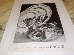 ANCIENNE PUBLICITE METAL ARGENTE  ERCUIS 1953 - Altri