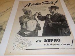 ANCIENNE PUBLICITE A VOTRE  SANTE FACTEUR CUISINIER ASPRO 1958 - Afiches