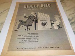 ANCIENNE PUBLICITE FILTRE AVEC PURETE CIGARETTE GAULOISES DISQUE BLEU   1958 - Posters