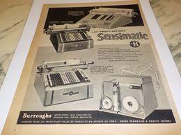 ANCIENNE PUBLICITE MACHINE POUR VOTRE COMPTABILITE BURROUGHS 1957 - Altri