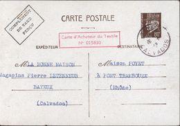 Entier Petain 80c Brun Foncé Surcharge Complément Taxe Perçue + Carte D'acheteur Du Textile : CP Commerciale Interzone - Postal Stamped Stationery