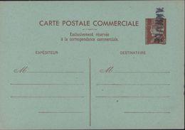 Entier Petain 1,2 Brun Rouge Carte Commerciale Sur Carton Vert Neuve Griffe ANNULE Storch E1a Cote 100 € - Postal Stamped Stationery
