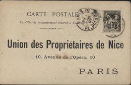 Entier Découpé 10ct Noir Collé Sur CP Avec Adresse Imprimée Union Propriétaires De Nice à Paris Verso Repiquage Huile - Postal Stamped Stationery