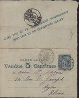 Entier Carte-lettre Annonce TSC Timbrée Sur Commande 15ct Sage Bleu Vendu 5ct Publicité Messageries Maritimes Vin Cacao - Postal Stamped Stationery