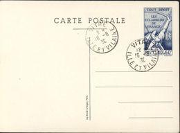 Entier CP Tour Droit Eclaireurs De France 40c + 60c Scout Scoutisme Storch S1 Imp Blondel La Rougery Paris CAD Vitré - Postal Stamped Stationery