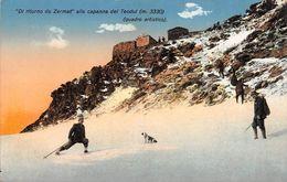 """1315 """"DI RITORNO DA ZARMAT ALLA CAPANNA DEL TEODUL (MT.3330)."""" CARTOLINA  ORIGINALE - Aosta"""