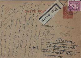 Entier CP Berthelot 90ct Carmin Sur Carton Vert état 1 + YT 292 Paul Doumer 75c Lilas CAD Paris 12 7 34 Par Avion - Postal Stamped Stationery