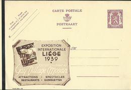 Publibel Neuve N° 439  ( Expo Int. LIEGE 1939 - Gay Village Mosan ) - Entiers Postaux
