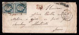 France Belle Enveloppe Avec YT10 En Paire De Paris En 1853 Vers Chambéry Albertville - 1852 Louis-Napoleon