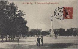 Pseudo Entier CP Avec Semeuse 5c Rouge CPA L'Esplanade Des Quinconces Verso Publicité Bons Epargne Française - Postal Stamped Stationery