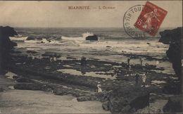 Pseudo Entier CP Avec Semeuse Camée 5c Rouge CPA Biarritz Océan Verso Publicité Magasin Marseille Rue Vacon - Postal Stamped Stationery
