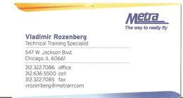 "USA: Visiting Card Of Company ""Metra"", Training Specialist V.Rozenberg, Chicago, 2000-th - Tarjetas De Visita"