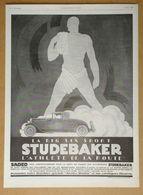 1926 Studebaker D'après Jean Carlu La Big Six Sport L'athlète De La Route (Automobiles Indiana) - Publicité Art Déco - Publicidad
