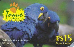 TARJETA DE BRASIL DE 2 GUACAMAYOS (PARROT) - Parrots