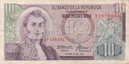 Colombie : 10 Pesos Oro 1975 (très Bon état) - Colombia