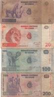 Congo : Lot De 4 Billets : 5F + 20F + 100F + 200F (mauvais état) - Congo