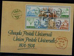 MALTA 1974 UPU BLOCK MI No BLOCK 4 MNH VF !! - Malta