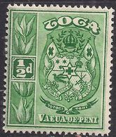 Toga Tonga 1920 - 35 KGV 1/2d Green Coat Of Arms MM SG 55 ( A631 ) - Tonga (...-1970)