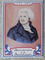 CP Bicentenaire De La Révolution Française Portrait De Danton Né à Arcis Sur Aude Ed Equinoxe - Histoire