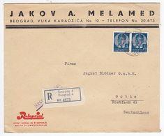 "Serbien 1938 R-Brief Der Fa.Jakov A. Melamed ""Rotaprint""nach Gotha Mit MEF+AKs - Serbie"