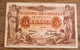 5 Francs Antwerpen 1914! Mooi Biljet!! 1390 - [ 4] Belgische Bezetting Van Duitsland
