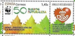 SPAIN, 2020, MNH, CHARITY STAMP, WWF, NATURE PROTECTION, LEAVES, 1v+TAB - W.W.F.