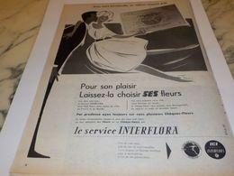 ANCIENNE PUBLICITE LAISSEZ LA CHOISIR SES FLEURS INTERFLORA 1957 - Altri