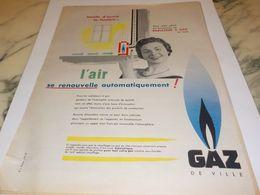 ANCIENNE  PUBLICITE CHAUFFAGE  GAZ  DE VILLE 1959 - Altri