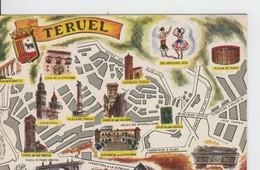 Postal 6626 : Plano Ciudad Y Monumentos De Teruel - Cartes Postales