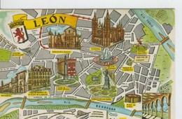 Postal 6650 : Plano Ciudad Y Monumentos De Leon - Cartes Postales