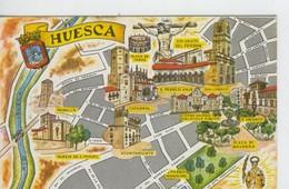 Postal 6652 : Plano Ciudad Y Monumentos De Huesca - Cartes Postales