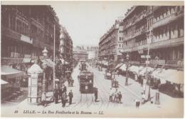 LILLE - LA RUE FAIDHERBE ET LA BOURSE - SUPERBE ANIMATION AVEC TRAMWAY - VERS 1900 - Lille