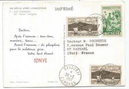 COMORES 1FRX2+2FR  CARTE PUB IONYL DZAOUZI 28.3.1957 COMORES ILES - Briefe U. Dokumente