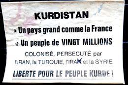 KURDISTAN TURQUIE POLITIQUE TRACT PROSPECTUS CONTRE LES MASSACRES   ANNEES 1980  AUTOCOLLANT ANCIEN - Ansichtskarten